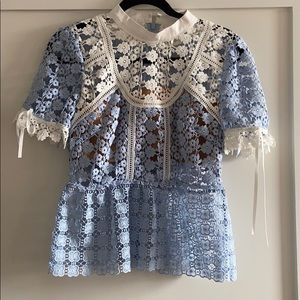 Self Portrait Blue and White Lace Peplum Top